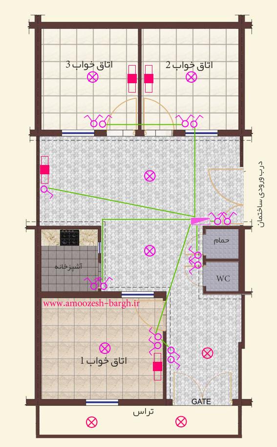 نقشه برق ساختمان لوله های ارتباطی