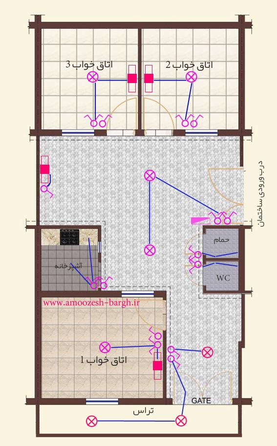 نقشه برق ساختمان لوله های برگشتی