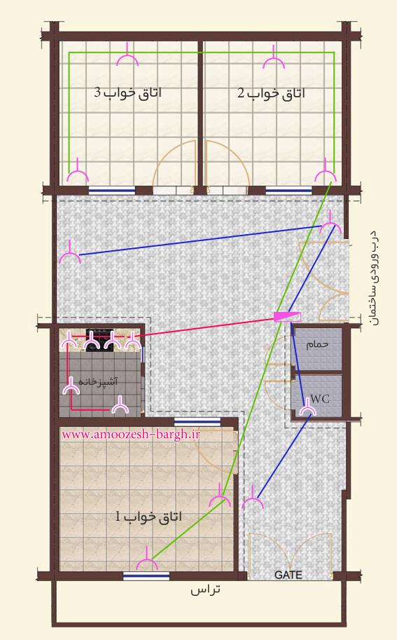 نقشه پریز برق ساختمان