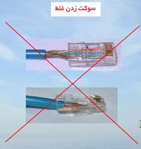 سوکت زدن کابل شبکه به روش غلط