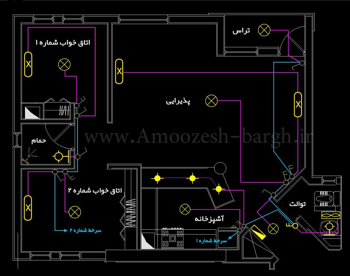 نقشه روشنایی برق ساختمان