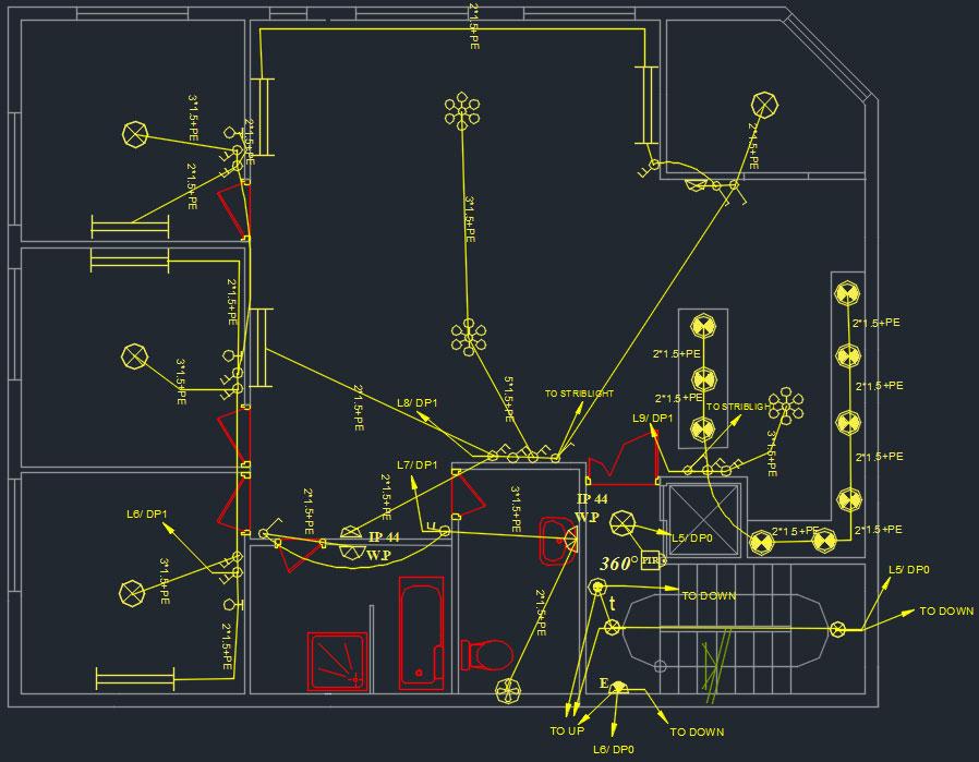 طراحی پلان روشنایی برق ساختمان