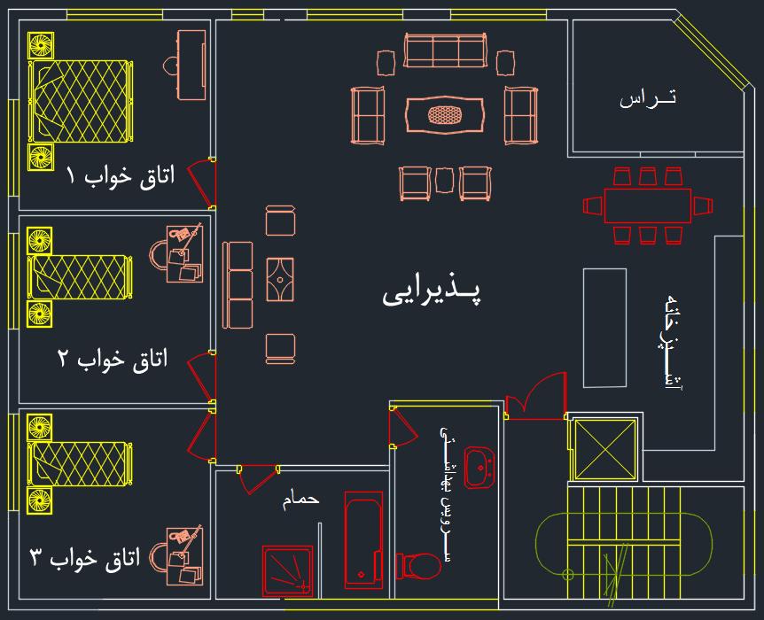 نقشه پلان معماری ساختمان سه خواب